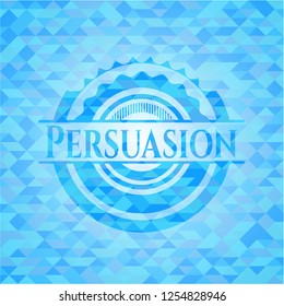 Persuasion light blue emblem with mosaic background