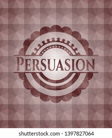 Persuasion red seamless badge with geometric pattern.