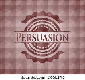Persuasion red seamless polygonal badge.