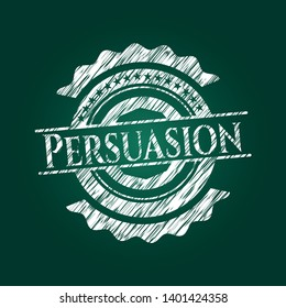 Persuasion written with chalkboard texture. Vector Illustration. Detailed.