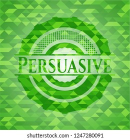 Persuasive green emblem. Mosaic background