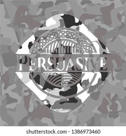 Persuasive grey camouflage emblem. Vector Illustration.