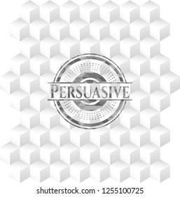 Persuasive realistic grey emblem with geometric cube white background