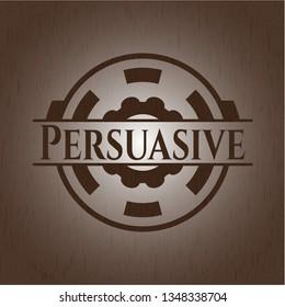 Persuasive realistic wooden emblem