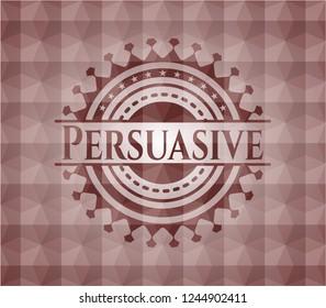 Persuasive red emblem with geometric pattern. Seamless.