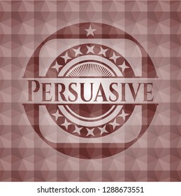 Persuasive red seamless badge with geometric pattern.