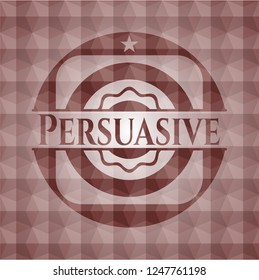 Persuasive red seamless emblem or badge with abstract geometric polygonal pattern background.