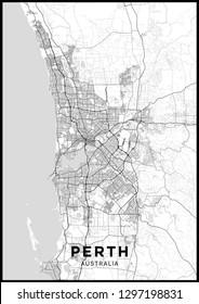 Plan de la ville de Perth (Australie). Affiche en noir et blanc avec carte de Perth. Plan des rues et des routes de Perth.