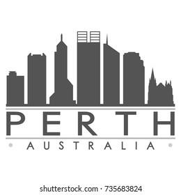 Perth Australia Oceania Skyline Silhouette Design City Vector Art Famous Buildings