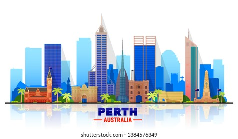 Perth Australia skyline with panorama in sky background. Vector Illustration. Business travel and tourism concept with modern buildings. Image for banner or web site