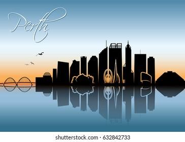 Perth skyline - Australia - vector illustration