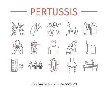 Pertussis signs. Whooping cough, Symptoms, Treatment. Line icons set. Vector infographics.