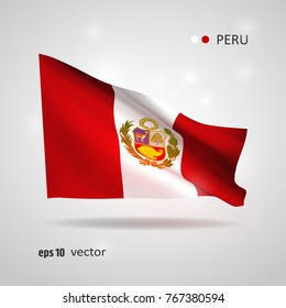 Peru 3D style glowing flag fluttering on the wind. EPS 10 vector created using gradient meshes isolated on light background. Shiny design element from world flags collection