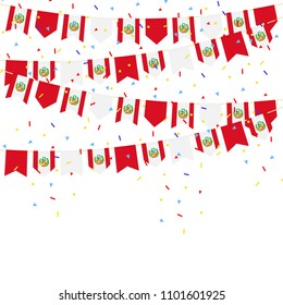 Peru celebration bunting flags with Confetti And Ribbons on white background.vector illustration