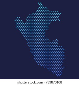 Peru Dotted Map Vector Round Design Gradient Art illustration Abstract Clip Art.