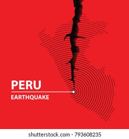 Peru Earthquake concept on cracked map. vector illustration.