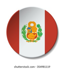 Peru Flag Button. Vector icon flag of Peru on white background. Paper cut style country flag.