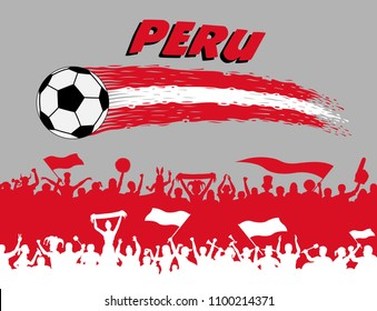 Peru flag colors with soccer ball and Peruvian supporters silhouettes. All the objects, brush strokes and silhouettes are in different layers and the text types do not need any font.