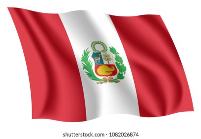 Peru flag. Isolated national flag of Peru. Waving flag of the Republic of Peru. Fluttering textile peruvian flag. The Bicolor Banner. The National Ensign.