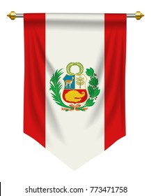 Peru flag or pennant isolated on white