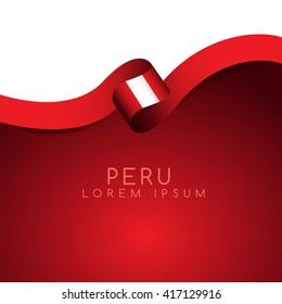 Peru Flag Ribbon : Vector Illustration