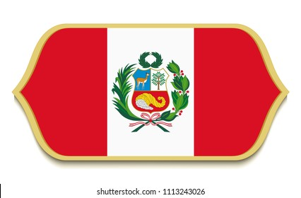 Peru. Flat national flag with coat of arms icon button. Peruvian symbol isolated on white background.