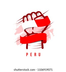 Peru Hand and Flag Vector Template Design Illustration