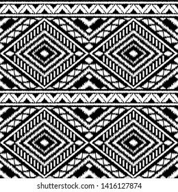 Peru ikat tribal pattern vector seamless. Traditional ethnic embroidery art print. White and black border textile texture. Incan background for boho rug, fabric, blanket and backdrop.
