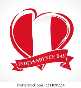 Peru Independence Day greeting card. 28 July, Peru Independence Day lettering banner background with heart in flag colors. Flag in the shape of heart in grungy style