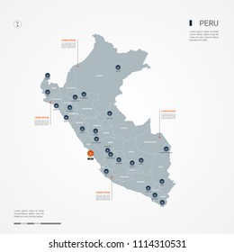 Peru map with borders, cities, capital Lima and administrative divisions. Infographic vector map. Editable layers clearly labeled.