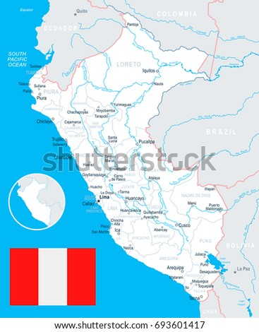 Huancayo Peru Map.Peru Map Flag Vector Illustration Stock Vector Royalty Free