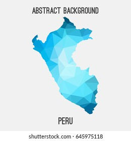 Peru map in geometric polygonal,mosaic style in blue shades.Abstract tessellation,modern design background,low poly. Vector illustration.