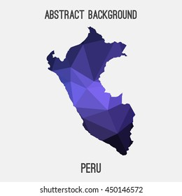 Peru map in geometric polygonal,mosaic style.Abstract tessellation,modern design background,low poly. Vector illustration.
