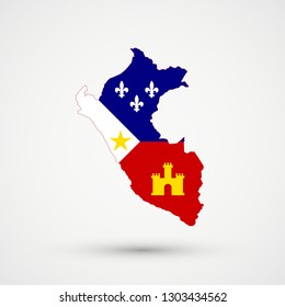 Peru map in New England Acadians flag colors, editable vector.