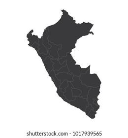 Peru map on white background vector, Peru Map Outline Shape Black on White Vector Illustration, High detailed black illustration map -Peru.