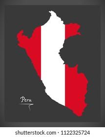 Peru map with Peruvian national flag illustration