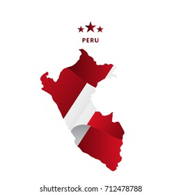 Peru map with waving flag. Vector illustration.