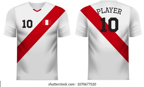Peru national soccer team shirt in generic country colors for fan apparel.
