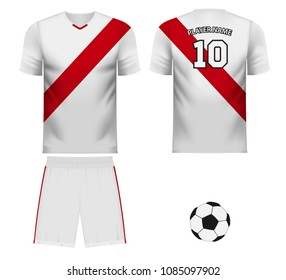 Peru national soccer team shirt in generic country colors for fan apparel