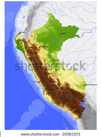 Peru Physical Vector Map Colored According Stock Vector Royalty