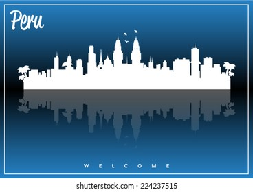 Peru, skyline silhouette vector design on parliament blue and black background.
