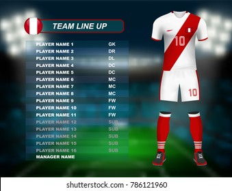 Peru soccer jersey kit with team line up board on soccer stadium and crowd fan with spot light backdrop on night time. Concept for south America result background in vector illustrative