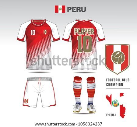 peru soccer jersey team apparel template stock vector royalty free