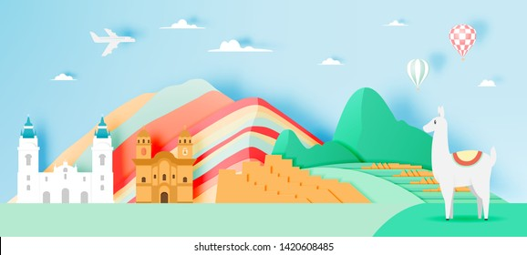 Peru travel with Machu Picchu background and paper art with pastel color scheme vector illustration