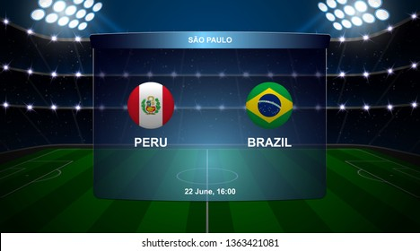 Peru vs Brazil football scoreboard broadcast graphic soccer template