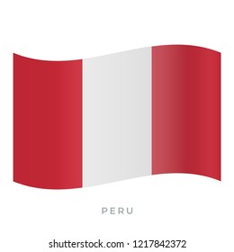 Peru waving flag vector icon. National symbol of Peru. Vector illustration isolated on white.