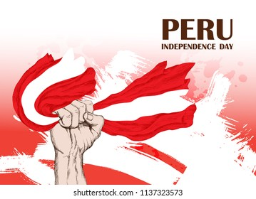 Peru's independence day. July 28rd.National Patriotic holiday of liberation in Latin America. Clenched human fist, symbol of the struggle for liberation. Hand-drawn shading. Vector image.