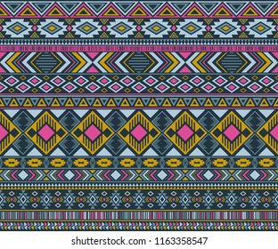 Peruvian american indian pattern tribal ethnic motifs geometric seamless background. Rich native american tribal motifs textile print ethnic traditional design. Navajo symbols clothes pattern.