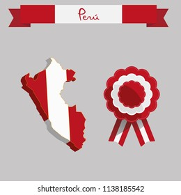 Peruvian map and cockade, red and white colors