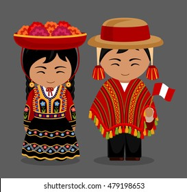 Peruvian in national dress. Man and woman in traditional costume. Travel to Peru. People. Vector flat illustration.